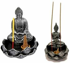13cm Silver&Black Rulai Buddha w Cone & Incense Holder Two Designs Home Décor