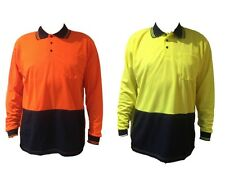 3x Adults Mens Hi-Vis Safety Workwear T-Shirt Work Wear Long Sleeve Polo Top