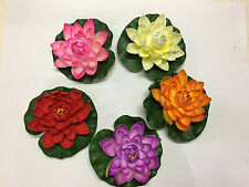 4x Artificial Water Lily Floating Flower Garden Pool Pond Tank Plant Ornament