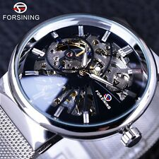 Forsining Silver Stainless Steel Case Mens Watches Mechanical Skeleton Watch New