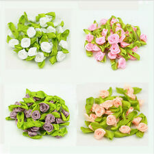 50X Ribbon Rose DIY Wedding Flower Satin Decor Bow Appliques Craft Sewing Leave