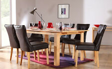 Bali & Bewley Extending Oak Finish Dining Table & 4 6 Leather Chairs Set (Brown)