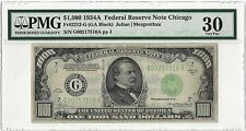 $1,000 1934A Federal Reserve Note Chicago Gr#2212-G PMG Very Fine 30