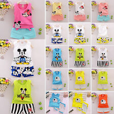 Summer 2PCS Kids Baby Girl Mickey Vest Tank Tops+Shorts Pants Set Clothes Outfit