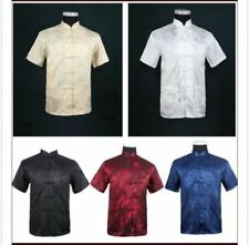 Chinese Traditional Style Men's Summer Casual Kung Fu Shirt Tops M-3XL