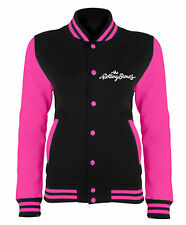 The Rolling Stones Jacket Classic Tongue logo new Official Womens black Varsity