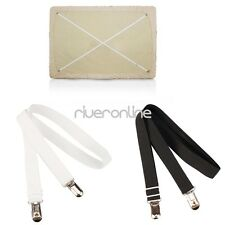 Black/White Bed Mattress Sheet Clips Gripper Straps Suspenders Fasteners Holders