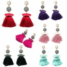 Fashion Women Jewelry Boho Ethnic Pearl Tassels Cluster Fringe Dangle Earrings