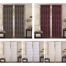 2-Layers Embroidery Floral Vine Sheer Front Rod Pocket Curtain w/ Valance Alma