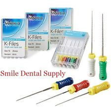 K-File Endodontic Files, 21mm, 25mm, 31mm, stainless steel 6/pk Dental Mark3