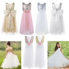 Flower Girls Dress Sequined Princess Tulle Dress Kids Party Pageant Wedding Gown