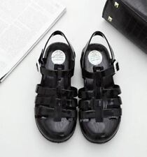 Lace-Up Flat with Buckle Strap Black Color Fashionable Sandal For Women
