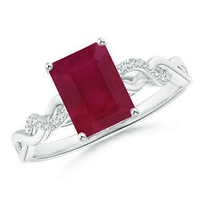 Solitaire Emerald Cut Ruby and Diamond Infinity Twist Ring Silver/14k White Gold