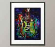 Fine Art Prints Contemporary Painting Modern Guitar Music Instrument Abstract
