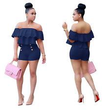 Sexy Wrap Off Shoulder Short Jumpsuits Women Bodycon Rompers Playsuit Party Cute