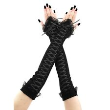 extra long fingerless gloves, arm warmers of fabric & lace has corset laced 3675