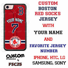 Custom Boston Red Sox Red Jersey Phone Case w/ Your Name & # for iPhone