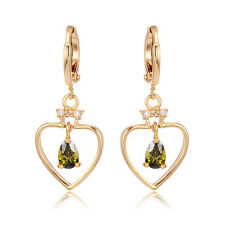 Vintage Triangle Crystal Heart Gold Filled Womens Dangle Hoop Earrings