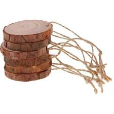 10pcs Natural Tree Bark Round Pine Wood Slices Circles with String for DIY Craft
