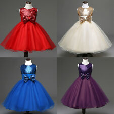 New Flower Girls Princess Dress Sequined Bowknot Wedding Birthday Party Dresses
