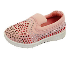 GIRLS KIDS CHILDRENS PINK SLIP-ON TRAINERS DIAMANTE PLIMSOLL PUMPS SHOES UK 10-3