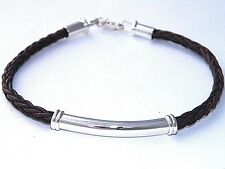 4.5 mm Antique Brown Bolo Braided Leather Cord Bracelet.925 Sterling Silver Tube