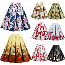 Women Vintage High Waisted Skater Skirt A Line Pleated Flared Floral Retro Dress