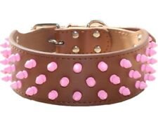 Pink Spiked Studded Leather Dog Collar for Pitbull Bully Terrier Large Breed