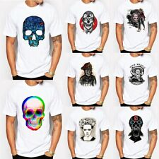 Rock Band Mens 3D Print Skull Death Graphic Tee Goth Punk Tops Casual T-Shirts