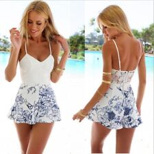 Sexy Womans Lace Flower Summer Beach Mini Dress Bodycon Party Holiday Sundress
