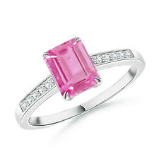Emerald Cut Pink Sapphire Diamond Cocktail Ring 14k White Gold Size 3-13