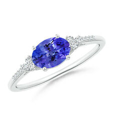 Oval Tanzanite Solitaire Engagement Ring with Diamond Accents White Gold/Silver
