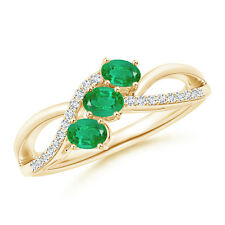 Oval Emerald Three Stone Bypass Ring with Diamonds 14k Yellow Gold/ 925 Silver
