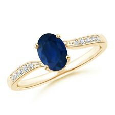 Solitaire Oval Blue Sapphire Diamond Bypass Ring 14k Yellow Gold