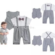 Infant Baby Boys Toddler Gentleman Formal Suit Long Sleeves Romper with Vest