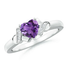Solitaire Amethyst Heart Ring with Diamond Accents 14k White Gold/ Size 3-13