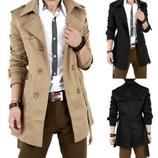 Mens Slim Fit Winter Warm Solid Color Trench Coat Long Jacket Overcoat Outwear
