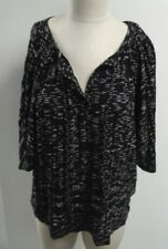 BCBG MAXAZRIA NWT Black And White Short Sleeve 2 Drawstrings Sweater Sz L #2899