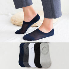5 10Pairs Men/Womens Cotton Loafer Boat Non-Slip Invisible Low Cut No Show Socks