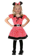 GIRLS MINNIE MOUSE COSTUME CUTE RED WHITE POLKADOT CHILD FANCY DRESS OUTFIT NEW