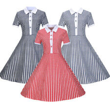 Women Vintage Style Swing Pinup Retro Housewife Party Checks Prom 1950's Dress