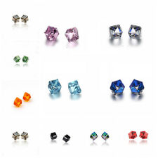 2 Pairs Colorful Cube Crystal Rhinestone Avoid Allergy Ear Stud Earring Jewelry