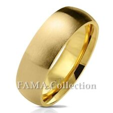 FAMA Stainless Steel Gold IP Matte Finish Classic Dome Wedding Band Ring