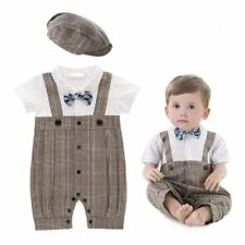 Baby Boy Wedding Christening Formal Party Tuxedo Suit Outfit Clothes+Hat Set