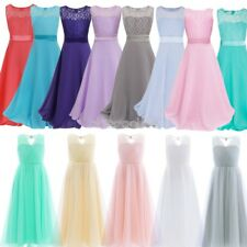 Kids Floral Lace Girls Dress Ball Gown Wedding Bridesmaid Bridal Party Prom Hot
