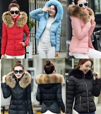 Winter Slim Coat Female Down Jacket Short Hooded Large Fur Collar Cotton Coat CG