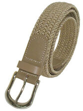 "501 - 1.25"" WIDE BEIGE NYLON BRAIDED STRETCH BELT IN SIZES TO FIT MOST"