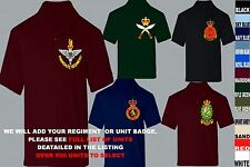 UNITS 1- 21 EMBROIDERED REGIMENTAL ARMY RAF ROYAL NAVY AIR FORCE POLO SHIRT