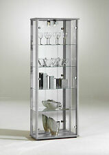 STORAGE GLASS DISPLAY CABINET MODERN SHELVES WITH LOCK AND LIGHT