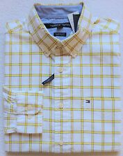 NWT Tommy Hilfiger Men's Long Sleeve Plaid Shirt, White/Yellow, Size: M, L, XL